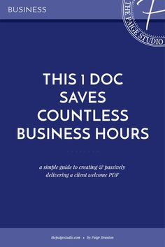 This 1 doc will simplify your processes & save you countless business hours