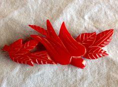 Vintage Original Bakelite Red Heavy Carved Flying Bird by tea500