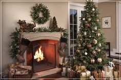 Decorating Fireplace Mantels for Christmas | beautifully decorated fireplace intensifies good cheer and warmth to ...