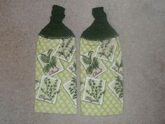 Crocheted Topped Hanging Kitchen Towels in a Herb Theme with green yarn toppers. $8.50, via Etsy.