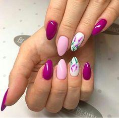 Gorgeous Almond Acrylic Nails You Won't Resist - Almond Nails Spring Nail Art, Nail Designs Spring, Spring Nails, Summer Nails, Nail Art Designs, Cute Almond Nails, Almond Acrylic Nails, Almond Shape Nails, Acrylic Nails For Summer Almond