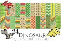 This weeks theme is Dinosaurs. Starting off Dino week with something I haven't done before, digital scrapbook paper. These are all 12 in x 12 in and there are 24 in total. I had a lot of fun …
