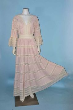 Vintage 60s Mexican Wedding Dress Bell Sleeves Lace Accents/ Bohemian Hippie Party Dress SZ M