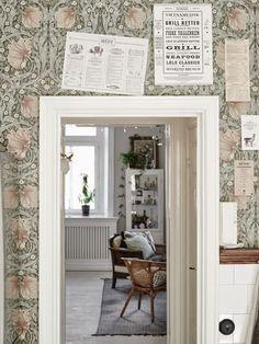 William Morris Pimpernel wallpaper in Bay Leaf/Manilla William Morris Tapet, William Morris Wallpaper, Morris Wallpapers, Painting Wallpaper, Of Wallpaper, Swedish Wallpaper, Beautiful Wallpaper, Menu Bar, Swedish Kitchen