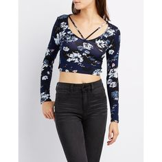 Charlotte Russe Strappy Caged Crop Top ($17) ❤ liked on Polyvore featuring tops, navy combo, embellished tops, strap crop top, caged crop top, long sleeve tops and v-neck tops