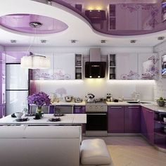 modular american kitchen design ideas with breakfast bar 2019 Kitchen Design Color, Kitchen Models, Purple Kitchen, Kitchen Styling, Home, Ceiling Design, American Kitchen Design, Cozy House, Home Decor