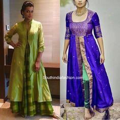 reuse old sarees to create front slit kurtis Silk Kurti Designs, Kurta Designs Women, Kurti Designs Party Wear, Salwar Designs, Long Dress Design, Dress Neck Designs, Designs For Dresses, Blouse Designs, Saree Gown