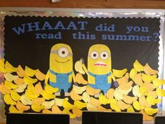 Summer reading bulletin board with Minions!