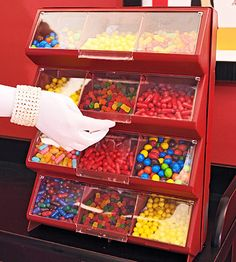 Cute idea for a candy buffet / snack station. These are multi-bin hardware storage units...