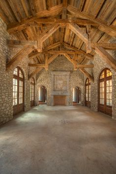 Bauen mit Holz Reclaimed hand hewn timber frame stone great room Bridal Lingerie on Your Wedding Nig Timber Frame Homes, Timber House, Timber Frames, Rustic Home Design, Wood Post, Post And Beam, Wood Beams, Old Barns, Log Homes