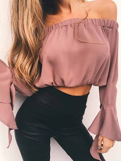 e077e4f35fe 2018 Summer Spring Strapless Blouse Tube Top Ruffle Sleeve Sexy Crop Tops  Solid Off Shoulder Tops Female Chiffon Shirt Blusas