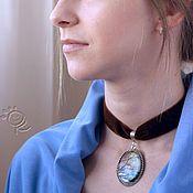 Polimer cllay, hand painted, acrylic paint, pendant, velvet ribbon, landscape Полимерная глина, ручная роспись,