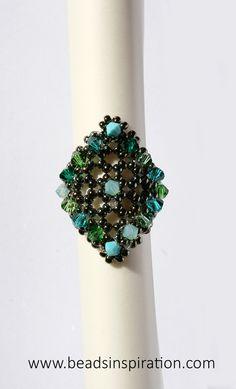 swarovski, beads, superduo, ring, anillo Swarovski, Turquoise, Beads, Rings, Jewelry, Beading, Jewlery, Bijoux, Pearls