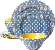 12-Piece Lucinda Melamine Dinnerware Set in Blue \u0026 Yellow  sc 1 st  Pinterest & Melamine Plastic Plates. Melange 12-Piece 100% Melamine Dinnerware ...
