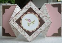 DIAMOND FOLD CARD...beautiful! like the use of patterned paper on this one...
