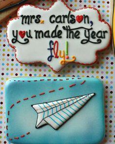 Teacher Thank you Cookies Sugar Cookie Royal Icing, Best Sugar Cookies, Iced Cookies, Cookies For Kids, Cute Cookies, Cupcakes, Cupcake Cookies, Airplane Cookies, Cookie Designs