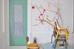 branch and Colors, my Little Girl will love decorating with feathers, ribbon and pompoms