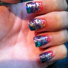 Crazy confetti nails!!