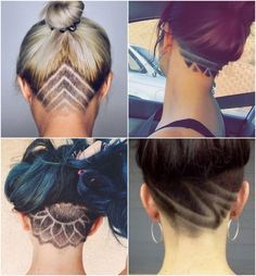 "Inverted bob cut shaved under purple lotus"" Undercut Long Hair, Undercut Hairstyles, Cool Hairstyles, Female Undercut, Undercut Tattoos, Undercut Hair Designs, Hair Tattoos, Shaved Hair Designs, Hair Dos"