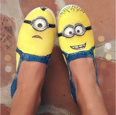 """Hand painted shoes -- Minions from the movie """"Desp ($55.00)"""