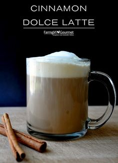 Easy Cinnamon Dolce Latte - No espresso machine necessary! via @Heather Scholten [Farmgirl Gourmet]