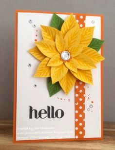 Hello Spring- by Jan McQueen,  Card stock: Pumpkin Pie, Daffodil Delight, Wild Wasabi, WW(Thick to hold the weight) DSP: Brights Stack Ink: Daffodil Delight, Wild Wasabi, Pumpkin Pie, Momento Tuxedo Black Stamps: Reason For the Season, Gorgeous Grunge, For You (retired) Access: Poinsettia Punch, Iced and Basic Rhinestones
