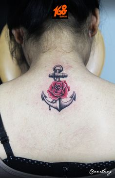 anchor tattoo with rose flower