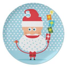 Santa Beard Advent Calendar Plates #zazzle #santa #plate #polkadots #Christmasplate