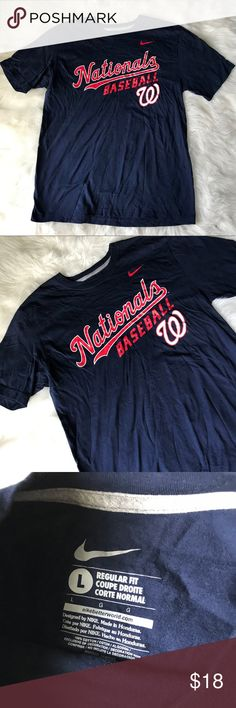 Nike Washington Nationals baseball t-shirt Sz L Excellent used condition  No flaws Size Large  Color: navy blue Washington Nationals logo on the front Brand: Nike Nike Shirts Tees - Short Sleeve