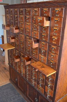 Card Catalog File Cabinet from Chicago Library, Solid Oak, Early Century at Vintage File Cabinet, Vintage Storage, Library Cabinet, Cabinet Decor, Antique Cabinets, Wine Cabinets, Cool Furniture, Furniture Design, Home Bar Decor