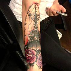 Arm Ship tattoo