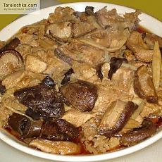 Рецепт - Курица на пару с грибами - Китайская кухня