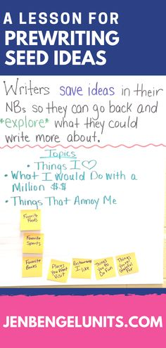"""""""We talked about planting seeds and how not every seed will grow but that writers often write their """"seeds"""" down to explore what they could write about at a later time.   We generated a list of ideas that writers could write about.   Then I had students go back to their desks during independent practice and choose 3 topics and make lists under those topics....each on a separate page in their WNB.""""  Erica, Out of This World Literacy Member"""
