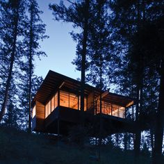 Texas firm Andersson-Wise has completed a rustic wooden cabin in the state of Montana that is raised on stilts to provide views of a nearby lake.
