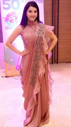 Net Fancy Embroidery Dusty Pink Ruffle Style Saree