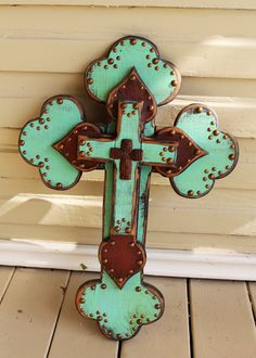 Image detail for -Large Aqua TURQUOISE and Rust Vintage Folk Art by TheSalvageSavant
