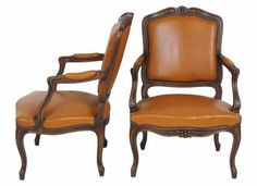 Lot:Pair LOUIS XVI STYLE CARVED WALNUT FAUTEUILS, Lot Number:341, Starting…