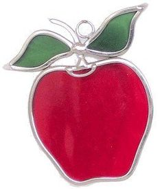 """Apple Suncatchers - Set of 2 in Stained Glass by n/a. $16.95. A Couple (2) of Stained Glass Apples, made from real stained glass and plated with a bright silver finish for everlasting beauty, with suction cups for window display. Each apple is approximately 3"""" x 4"""". Can be Personalized."""