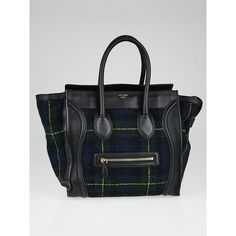 Pre-owned Celine Black Calfskin Leather and Tartan Mini Luggage Tote... (1,110 CAD) ❤ liked on Polyvore featuring bags, handbags, tote bags, tote handbags, plaid tote, celine tote bag, celine purse and plaid handbags