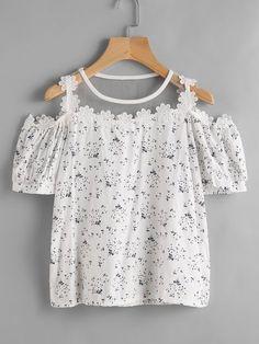 Floral Casuales Poliéster Cuello redondo Manga corta Camisas (1058731) @