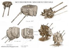 Sky Destroyer Armament Details by MikeDoscher How To Draw Weapons, Steampunk, Futuristic Art, Weapon Concept Art, Character Design References, War Machine, Battleship, Dieselpunk, Starwars
