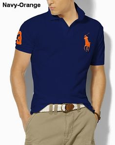 Ralph Lauren Men Classic-Fit Big Pony Polo Royal Orange