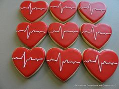 MIni EKG Heartbeat Hearts Cookies - Great for your Sweetheart- or an add on to another cookie item ( Cheese Cookies, Mini Cookies, Heart Cookies, Sugar Cookies, Nurse Cookies, Chocolate Butter, Chocolate Icing, Chocolate Cookies, Cookie Tray
