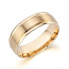 Many of our grooms have decided to go the traditional route with their wedding band by opting for yellow gold instead of the very popular white gold. Yellow gold reminds them of their fathers' and grandfathers' rings. It also has a rich, luxe hue that men tend to gravitate towards. Whatever the reason, 'Pleasant' is a great option for a wedding band. Set in 14kt yellow gold, it measures 6.5mm in width and features satin and shiny finishes. It is comfort fit, with two layers of gold.