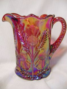 *RED CARNIVAL GLASS ~ Pattern: Inverted Thistle Pattern, Pitcher.