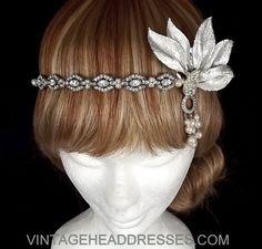 Great Gatsby Headpiece - Vintage 1920's Art Deco Flapper Headband - Wedding - Bridal - Event