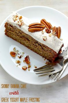 Skinny Banana Cake with Maple Frosting