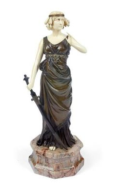 Ferdinand Preiss (German, 1882-1943): 'Judith' a patinated bronze and ivory