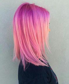 ✧・゚. angrydinosaurx ✧* Hair Inspo, Hair Inspiration, Pink Purple Hair, Bright Pink Hair, Colourful Hair, Hair Color Pink, Cool Hair Color, Pastel Hair, Pink And Orange Hair