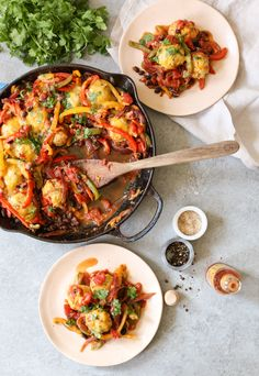 Chicken Meatball Fajita Skillet. Loaded with fajita veggies, beans, grain-free chicken meatballs, and just enough cheddar to satisfy your need for cheese, this skillet meal is a major crowd-pleaser. (GF) www.domesticate -me.com